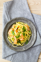 Shrimps with spaghetti on tin plate,  overhead view - GIOF04001