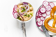Obatzda with red onion, radish, spring onion and pretzel - SBDF03699