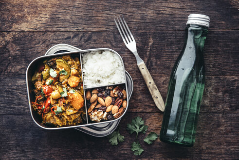 Take Away Food, tamarind vegetable stew, carrot, zucchini, bell pepper, eggplant, onion, tomato and falafel balls, rice and nuts with raisins - IPF00468