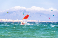 Spain, Andalucia, Tarifa, windsurfers and kite surfers on the sea with mountains of Morocco in the background - SMAF01085