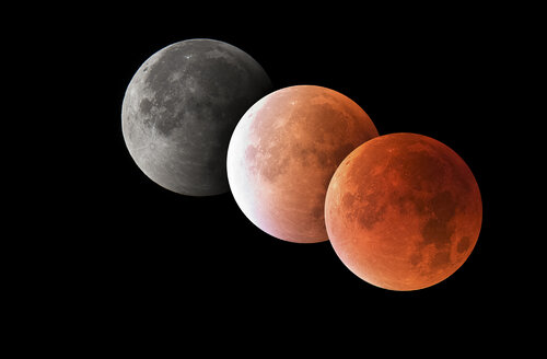 Various phases of a total lunar eclipse, blood moon, astrophotography - THGF00048
