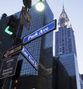 Street signage outside Chrysler Building at dusk, New York City, USA - ISF18195