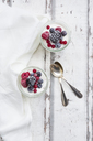 Two glasses of Greek yogurt with frozen berries - LVF07348