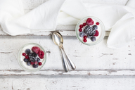 Two glasses of Greek yogurt with frozen berries - LVF07351