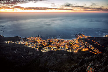 South Africa, Cape Town, illuminated Camps Bay in the evening - DAWF00687