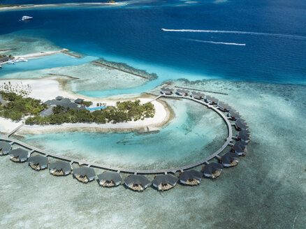 Maldives, Aerial view of water bungalows - KNT01163
