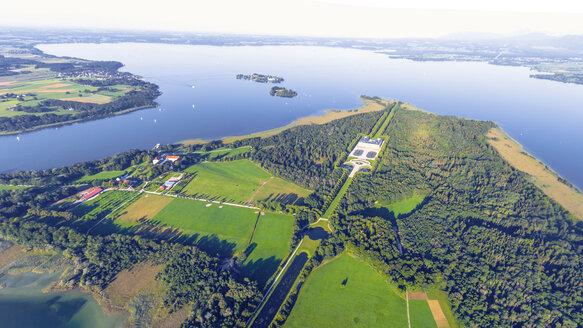 Germany, Bavaria, Aerial view of Herreninsel, Herrenchiemsee Castle - MMA00453
