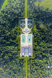 Germany, Bavaria, Aerial view of Herreninsel, Herrenchiemsee Castle, overhead view - MMA00456