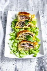 Swiss roll, puff pastry with sausage meat, cheese, onion, parsley and salad on plate - SARF03865