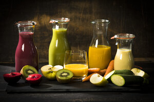 Various smoothies, fruits and vegetables - MAEF12681