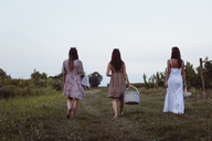 Friends walking to vineyard carrying picnic baskets - MAUF01589