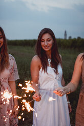 Friends having a picnic in a vinyard, burning sparklers - MAUF01649