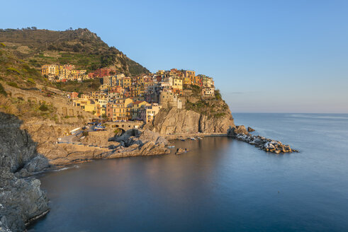 Italy, Liguria, La Spezia, Cinque Terre National Park, Manarola in the evening light - RPSF00214