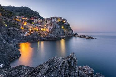 Italy, Liguria, La Spezia, Cinque Terre National Park, Manarola in the evening light - RPSF00217