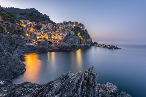 Italy, Liguria, La Spezia, Cinque Terre National Park, Manarola in the evening light - RPSF00217