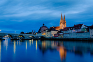 Germany, Bavaria, Regensburg, Old town, Regensburg Cathedral and Danube river at blue hour - KLRF00657