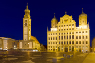 Germany, Bavaria, Augsburg, Town hall and Perlach tower at blue hour - KLRF00660