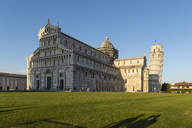 Italy, Tuscany, Pisa, View to Pisa Cathedral and Leaning Tower of Pisa from Piazza dei Miracoli in the evening light - RPSF00227