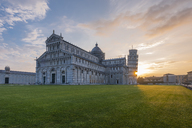 Italy, Tuscany, Pisa, View to Pisa Cathedral and Leaning Tower of Pisa from Piazza dei Miracoli at sunset - RPSF00236