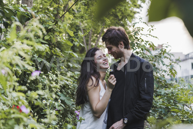 Happy young couple standing in shrubbery - AFVF01235 - VITTA GALLERY/Westend61