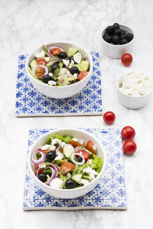 Two bowls of Greek salad - LVF07373