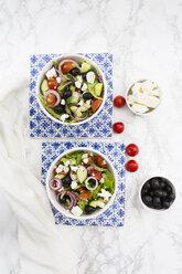 Two bowls of Greek salad - LVF07376