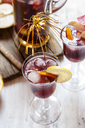 Decorated glass of Sangria with fresh fruits - SBDF03735