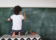 A child writing on a blackboard with chalks. - MINF05018