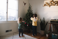 Rear view of young boy and girl standing in a living room, decorating a Christmas Tree. - MINF05344