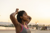 Portrait of young woman during work out - AFVF01268