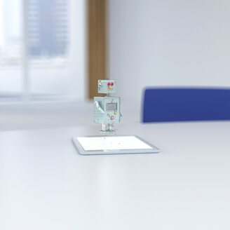 3D rendering, Little robot coming out of digital tablet on desk - UWF01406