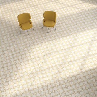 3D rendering, Two yellow chairs on patterned floor - UWF01421