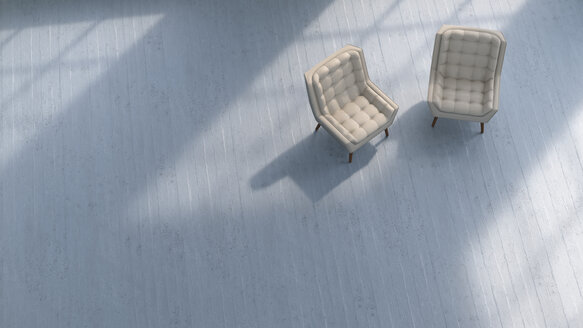 3D rendering, Two chairs on concrete floor - UWF01433
