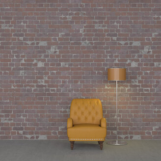 3D rendering, Leather armchair and floor lamp against brickwall - UWF01436