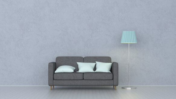 3D rendering, Couch with cushions and floor lamp - UWF01442