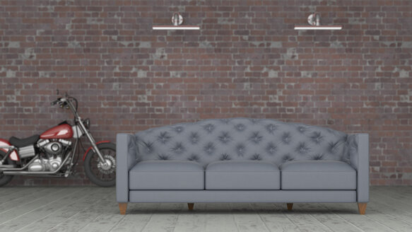 3D rendering, Grey couch in front of brickwall with motorbike in background - UWF01445