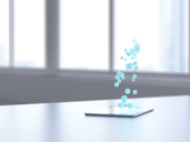 3D rendering, Blue bubbles transferring data from digital tablet - UWF01496