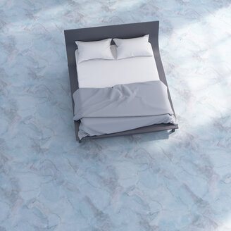 3D rendering, Bed with bedding on blue marble floor - UWF01502
