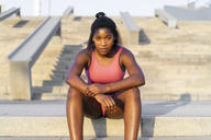 Young woman during workout on stairs - AFVF01319