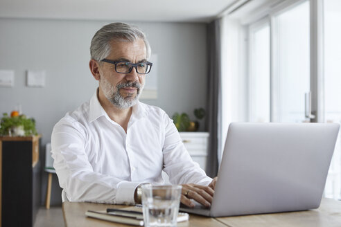 Portrait of mature man using laptop at home - RBF06466
