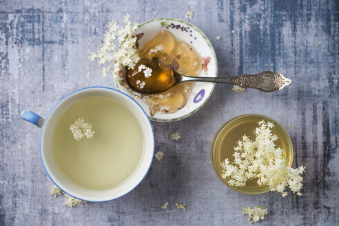 Elderflower tea, elderflower sirup and elderflower jelly - MYF02052
