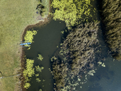 Indonesia, Bali, Aerial view of Bratan lake, traditional fishing boat - KNTF01172