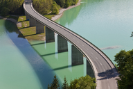 High angle view of tall road bridge crossing dam - MINF06544
