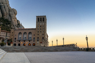 Spain, Catalonia, Montserrat, Santa Maria de Montserrat Abbey in the evening - AFVF01369