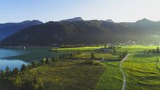 Austria, Tyrol, Kaiserwinkl, Aerial view of lake Walchsee - AIF00537