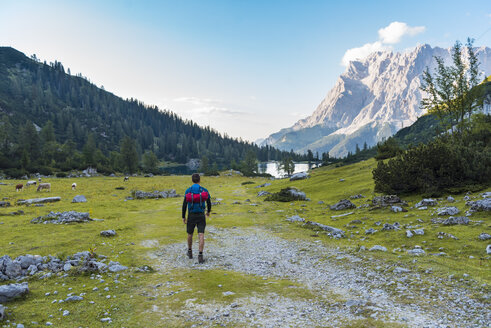 Austria, Tyrol, Hiker with backpack, hiking at Lake Seebensee - DIGF04791