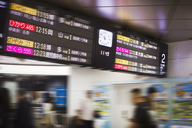 Close up of illuminated departure board with clock at a Japanese train station. - MINF07746