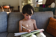 Side view of shirtless boy with brown hair sitting on a sofa, holding pen, writing in book. - MINF08018