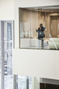 Black businessman on the phone standing in a conference room window. - MINF08244