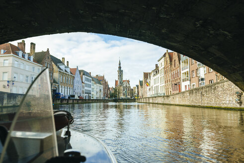Belgium, Flanders, Bruges, canal seen from a boat - KIJF01997